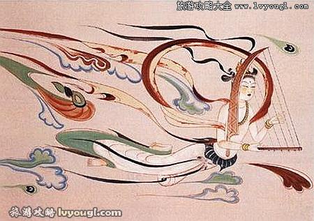 著名的敦煌莫高窟飞天壁画(图例2)图片