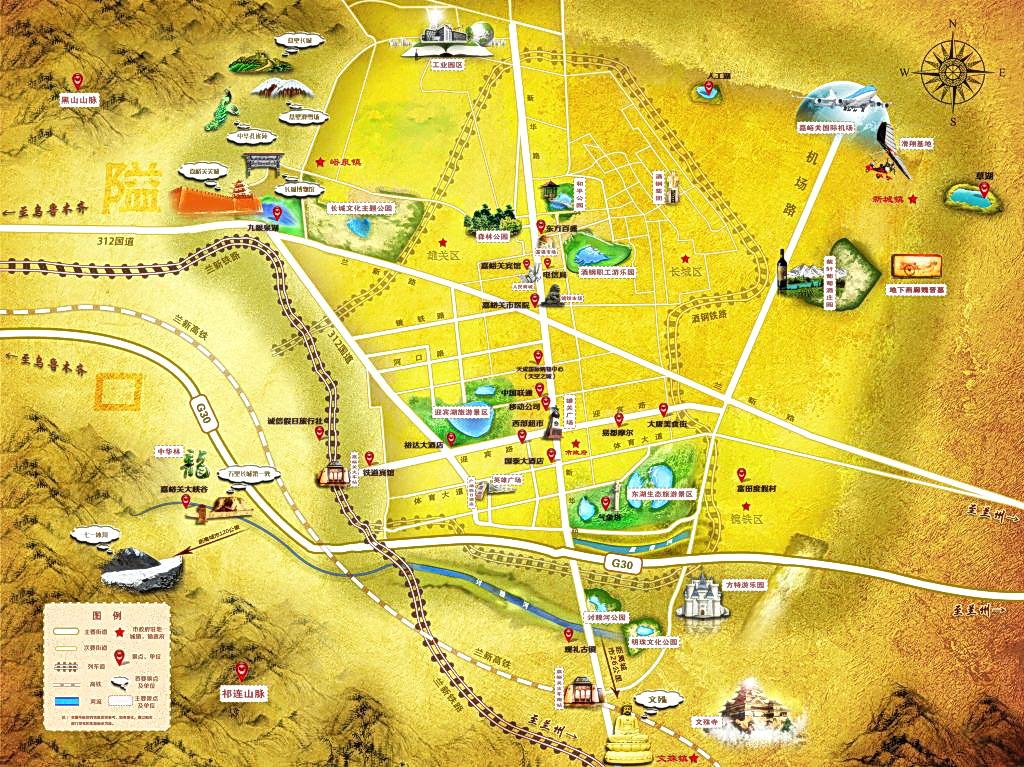 嘉峪关市高清手绘旅游地图